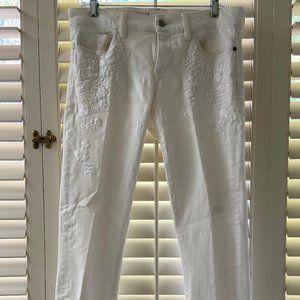 Floral Stitch White Jeans